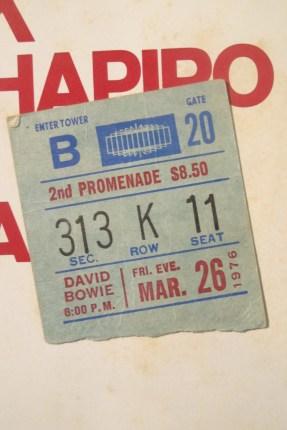 original 1976 concert ticket stub discovered glued to inner sleeve inside of copy of Station To Station