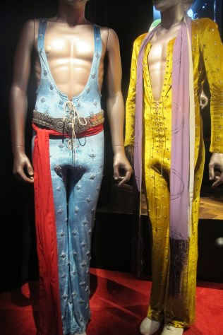 """Two of Mick's jumpsuits worn on the legendary 1972 U.S. tour """"which I could still get into,"""" said Mick in an interview. """"Very comfortable ... But you have to be in shape to wear them. You can't come out with a belly!"""""""