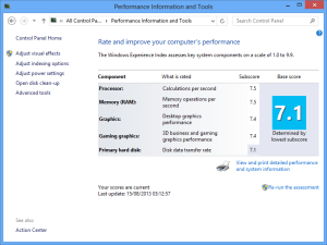 where is windows 10 System Performance Rating ?