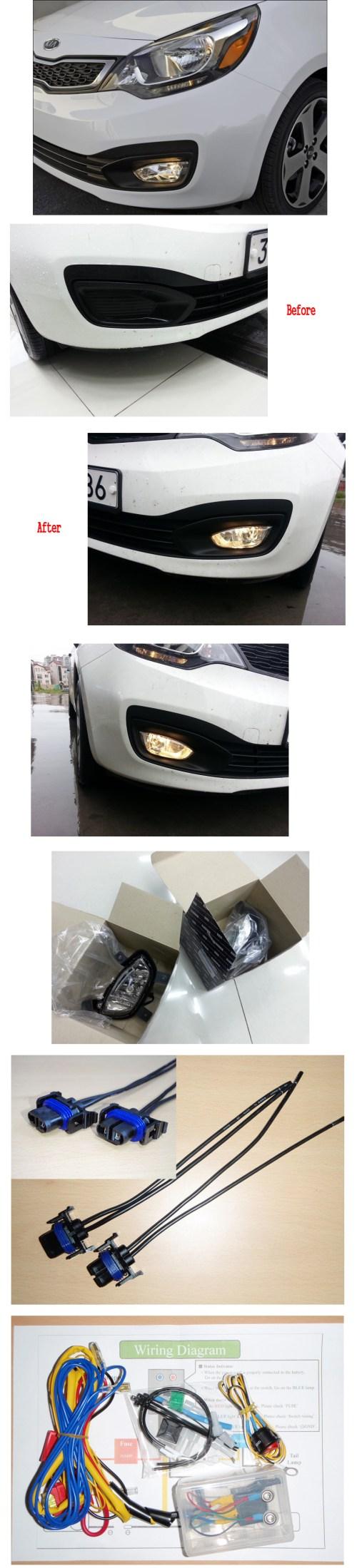 small resolution of fog lamp light harness complete kit for 12 2015 kia rio sedan 4door rh ebay com