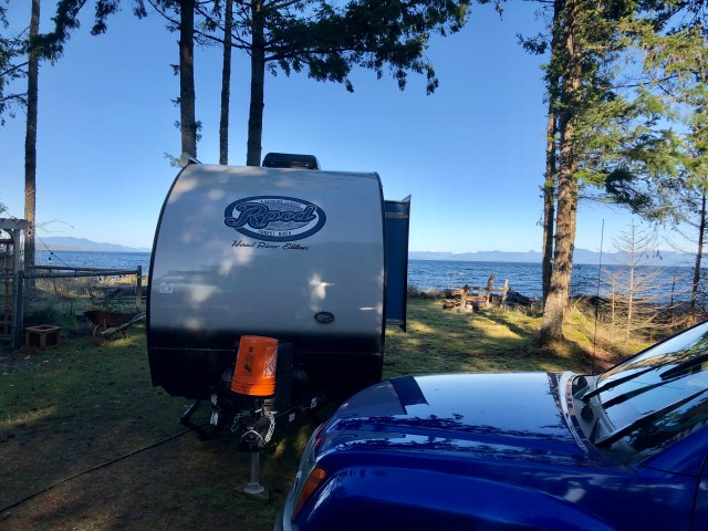 R-Pod travel trailer camping by ocean