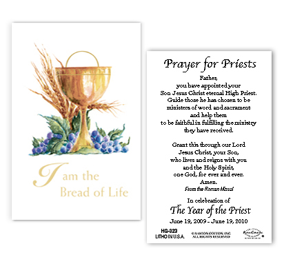 Year Of The Priest Chalice And Wheat Holy Card With Year