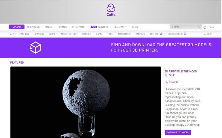 Website for 3D Printable Models Cults
