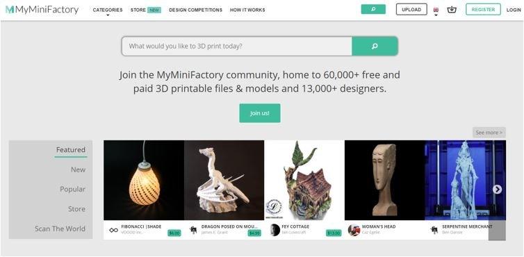 Website for 3D Printable Models MyMiniFactory