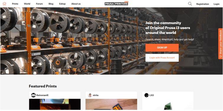 Website for 3D Printable Models Prusaprinters
