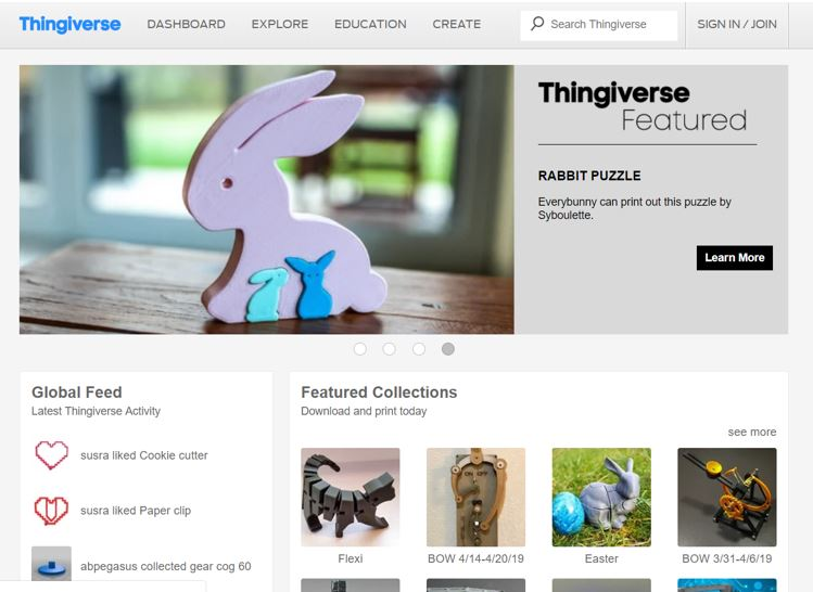 Website for 3D Printable Models Thingiverse