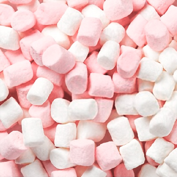 Pink and white mini marshmallows