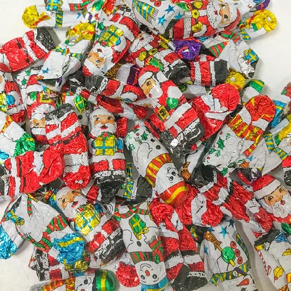 Mini Chocolate Wrapped Solid  Santas & Snowman