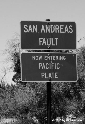 Sign on East side of the fault
