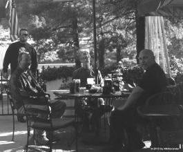 From Left: Danny Underwood (rear), Brandon McKee, Mike Harmon, and Tim Devantier at The Grizzly Cafe in Wrightwood, California.