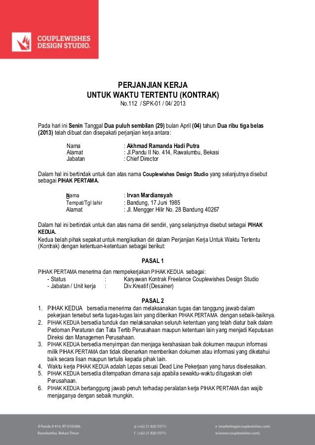 Contoh Surat Kontrak Kerja  Yanuarra