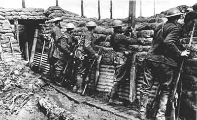 In the trenches (photo courtesy of the Canadian War Museum)