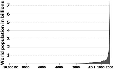 Population curve since 10,000 BC
