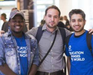 Photo of three students of the Student Refugee Program