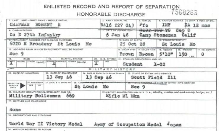 World War II era discharge of Robert Chapman