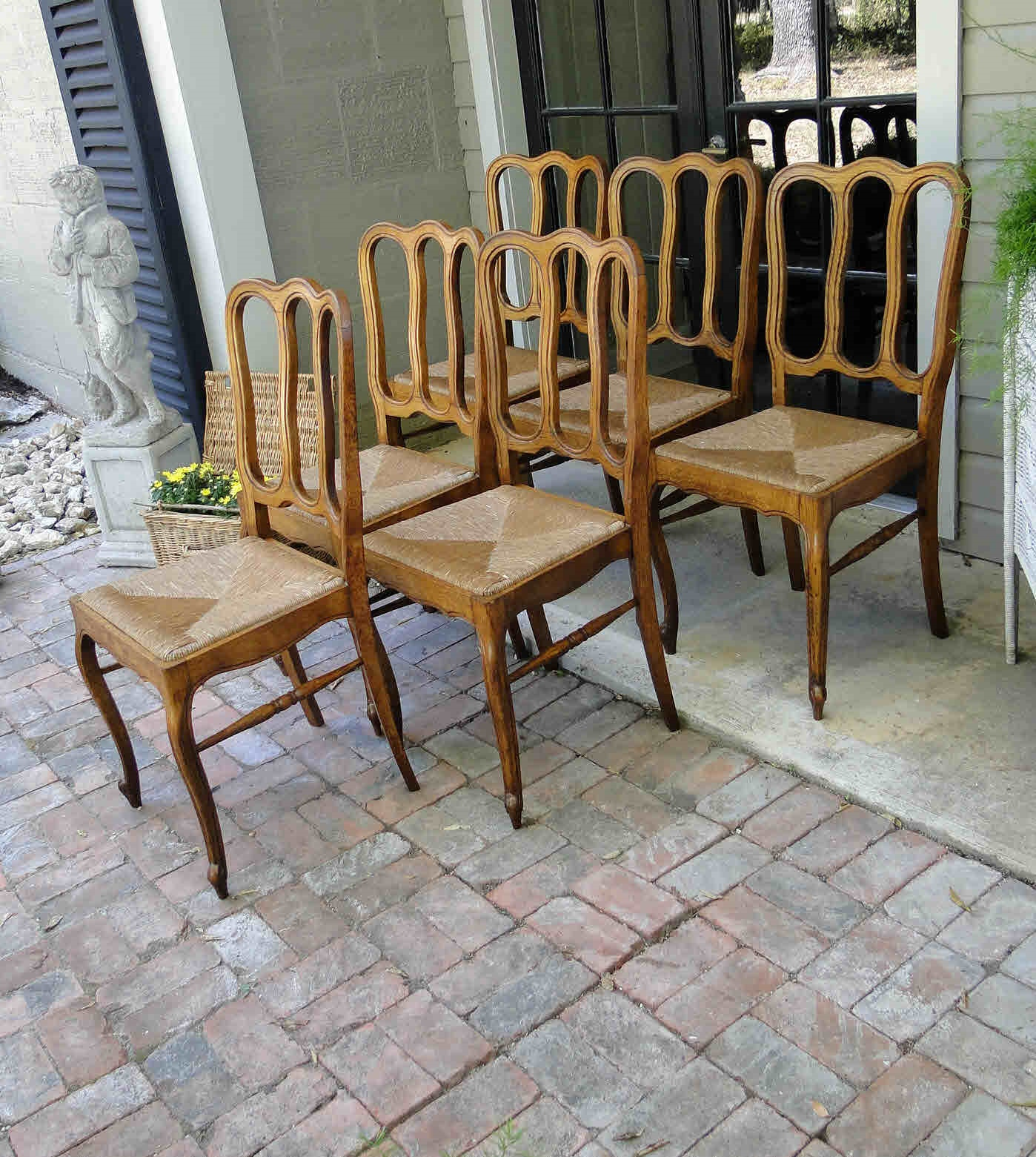 antique ladder back chairs with rush seats alfa revolving chair price french dining carved oak