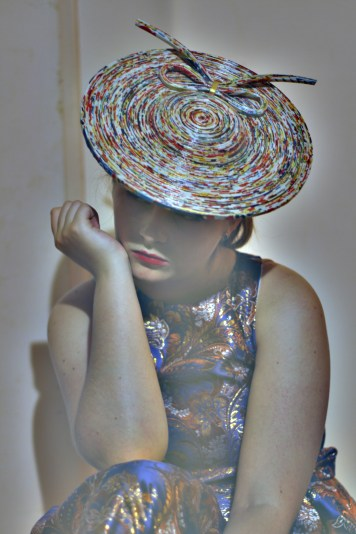 Coiled junkmail Boater style hat with 23 carat gold highlights, 2017