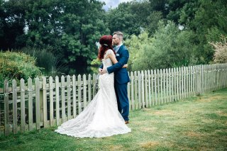 Bride and groom formal photo at Sopley Mill