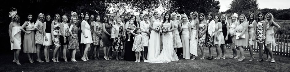 Group photograph of all the femail wedding guests