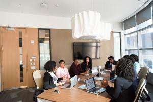 Black women in meeting room