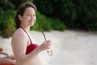 Molly enjoying a beach-side lemonade at Ephelia resort