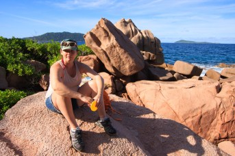 Molly at Anse Caiman, the farthest corner of La Digue