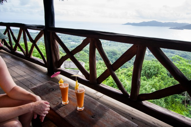 on top of La Digue there is a nice little bar...