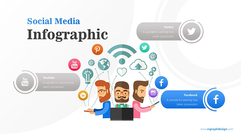 Business Team Character With Social Media Icons Ilustration 4
