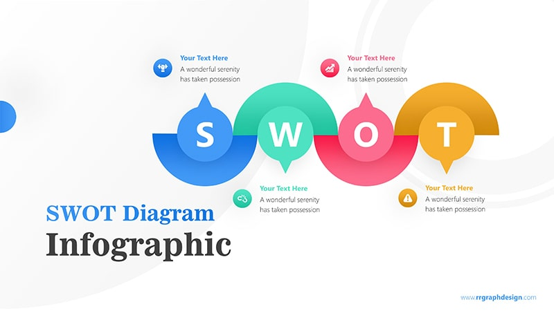 Flow Infographic PowerPoint Template: SWOT Diagram