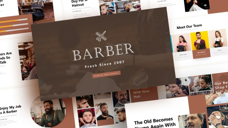 Free Barber Shop PowerPoint Template