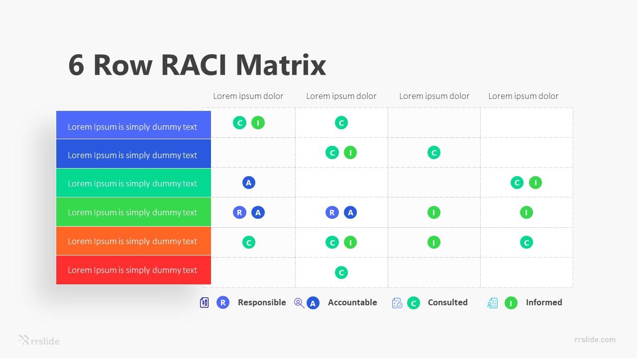 6 Row RACI Matrix Infographic Template