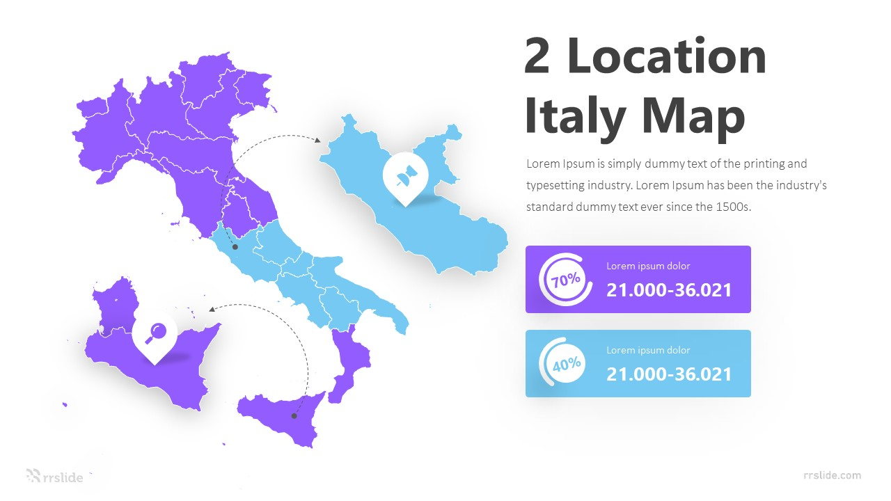 2 Location Italy Map Infographic Template