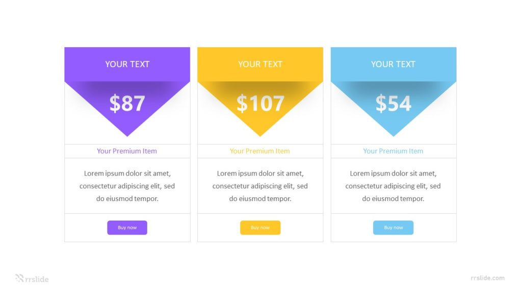 3 Coloumns Pricing Table Infographic Template