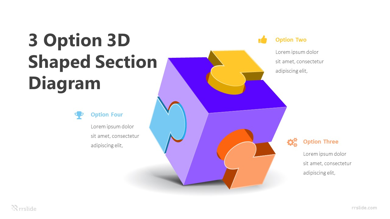 3 Option 3D Shaped Section Diagram Infographic Template