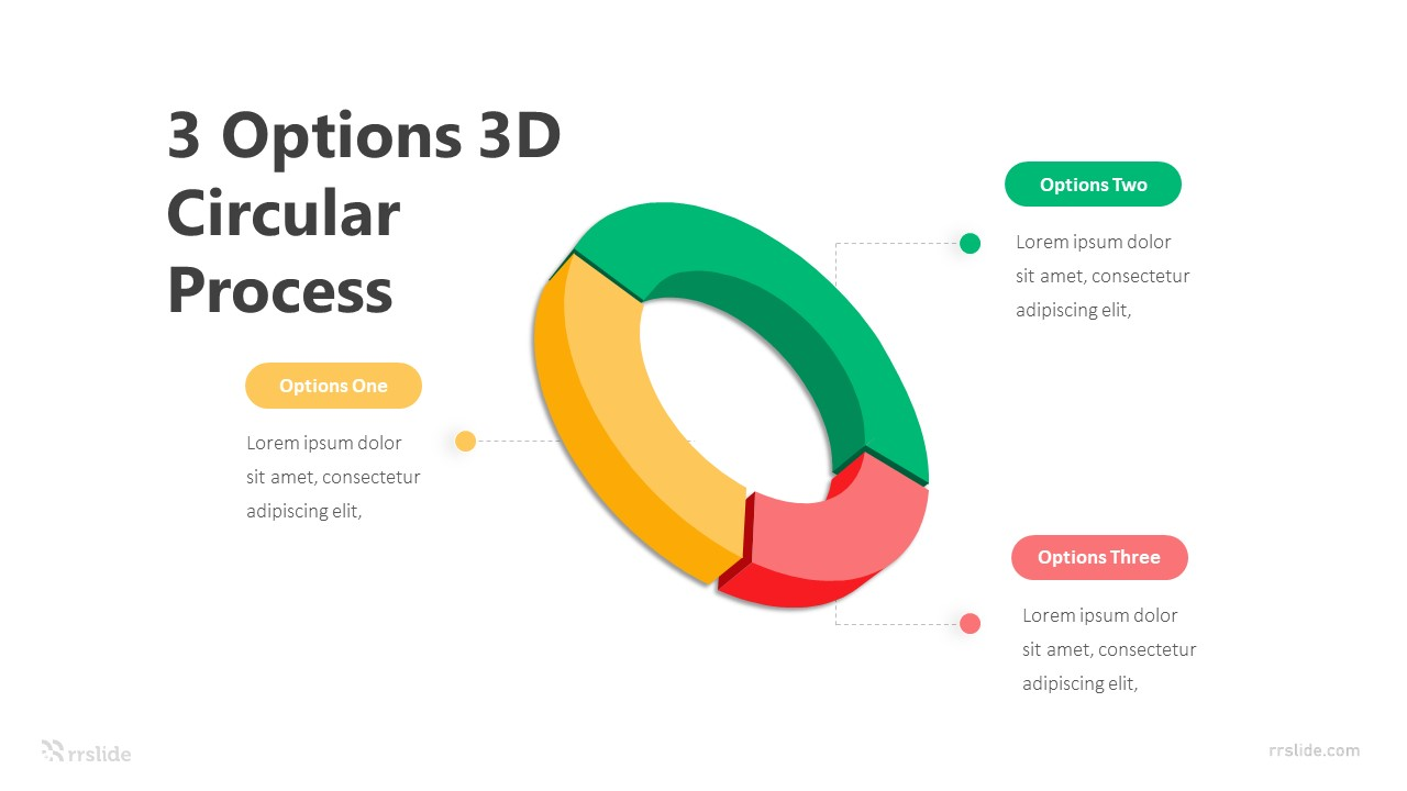 3 Options 3D Circular Process Infographic Template
