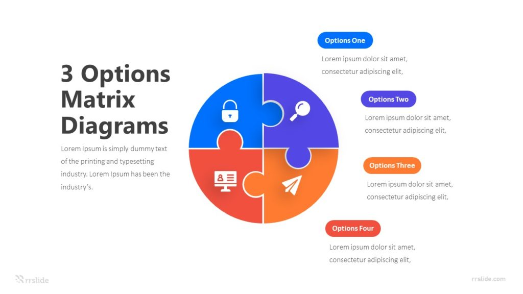 3 Options Matrix Diagrams Infographic Template