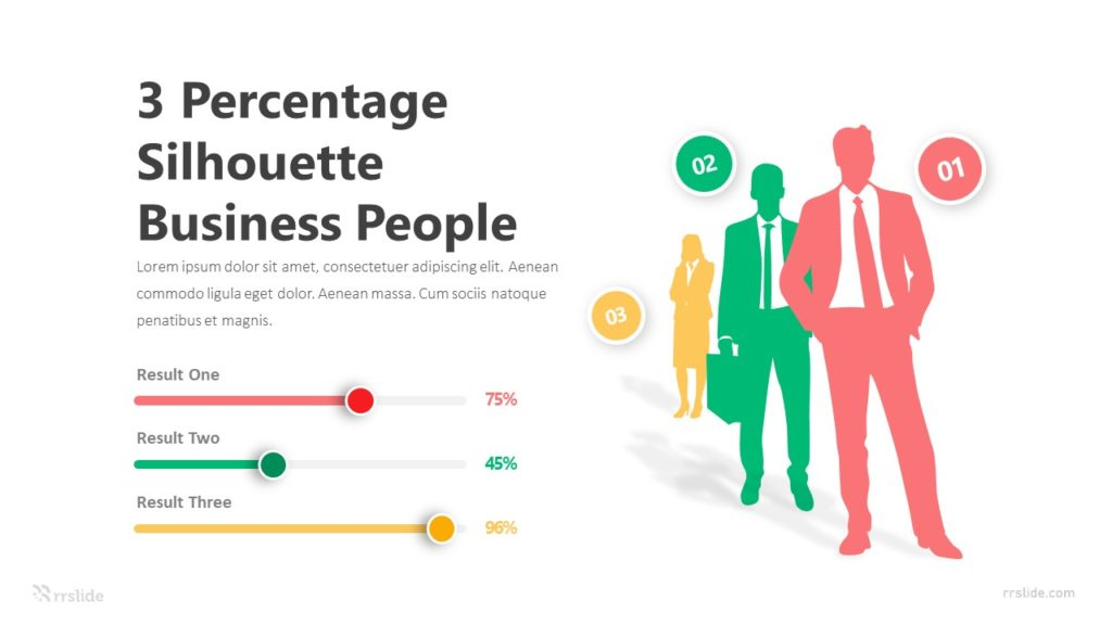 3 Percentage Silhouette Business People Infographic Template