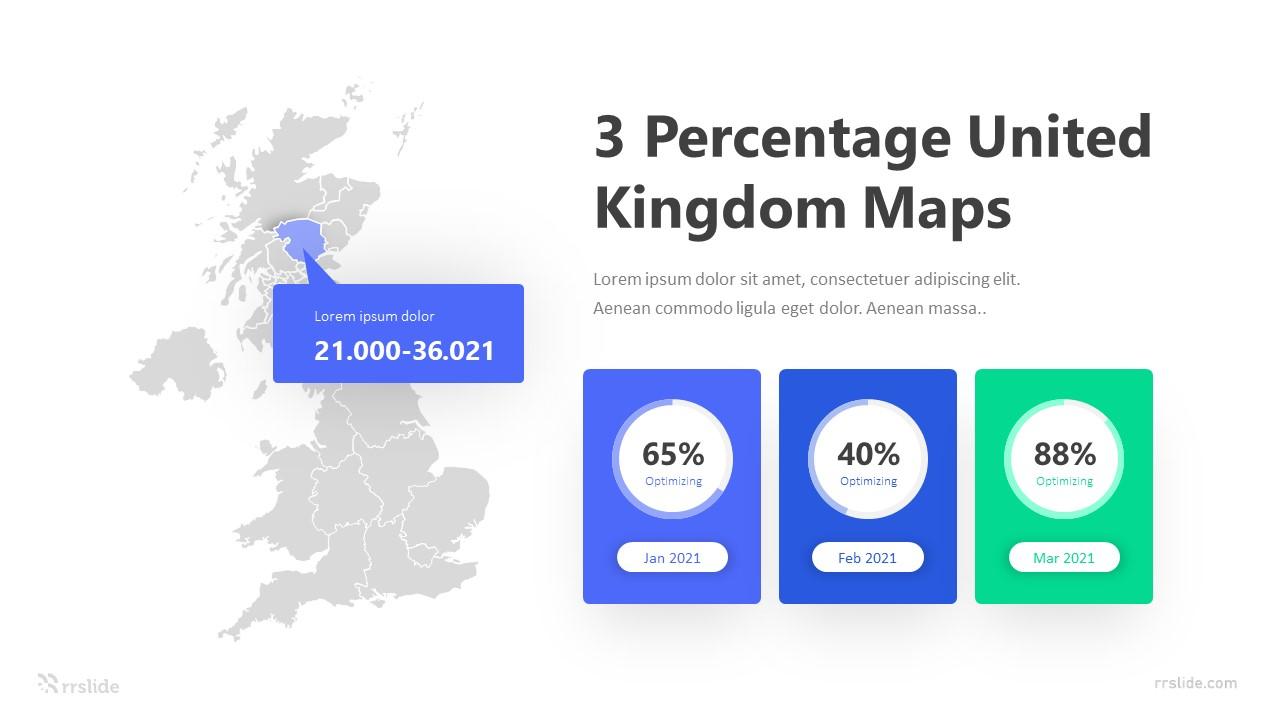 3 Percentage United Kingdom Maps Infographic Template