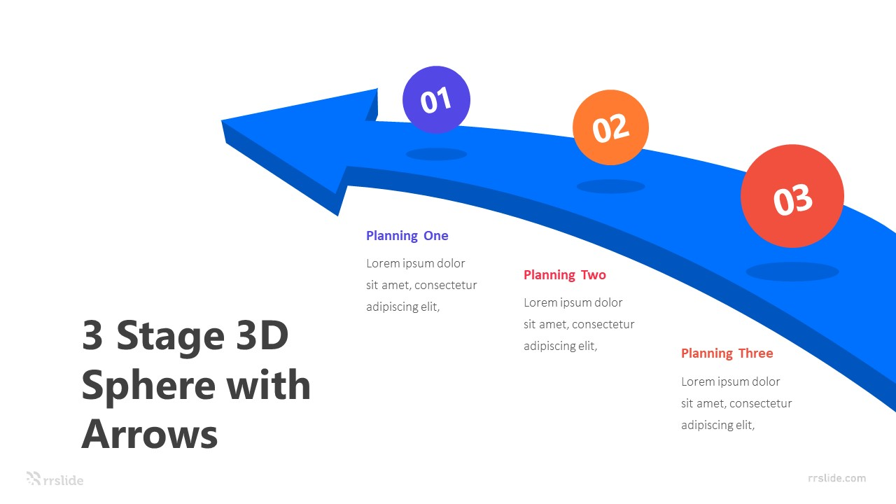 3 Stage 3D Sphere with Arrows Infografic Template