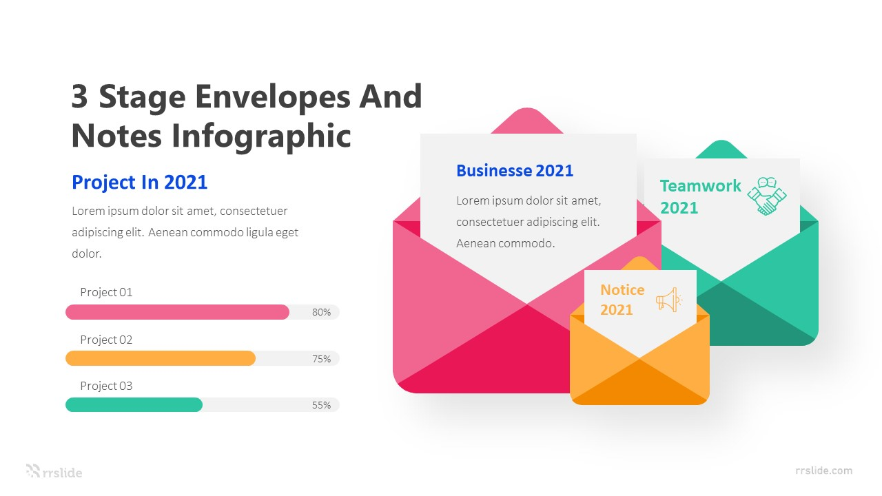 3 Stage Envelopes And Notes Infographic Template