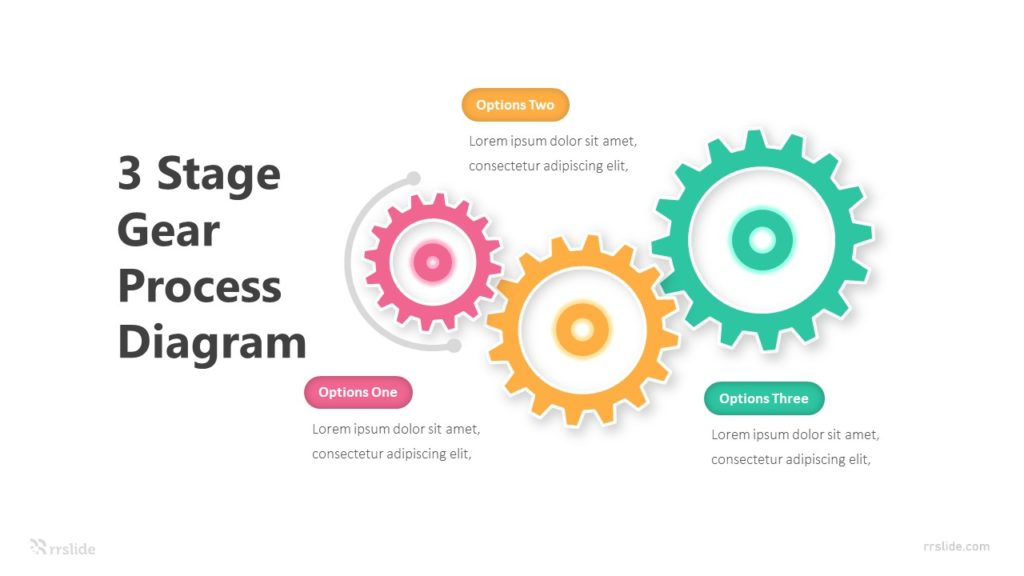3 Stage Gear Process Diagram Infographic Template