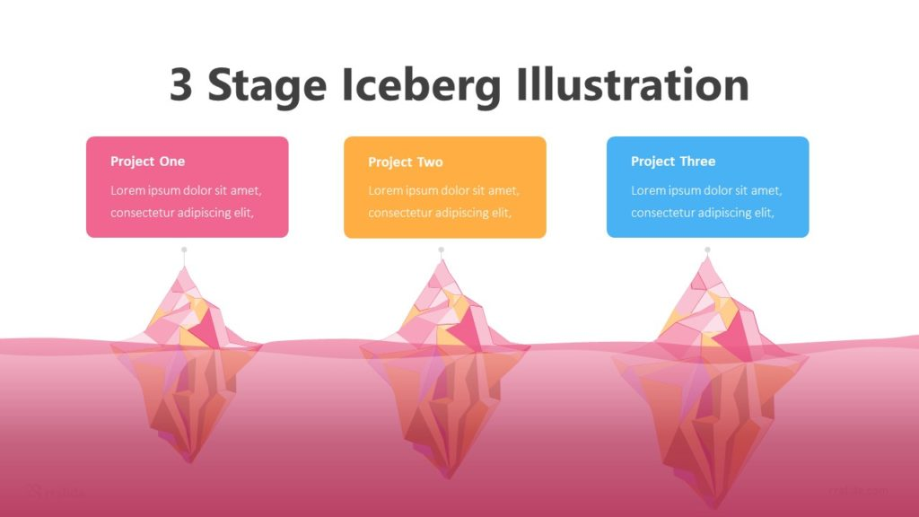 3 Stage Iceberg Illustration Infographic Template