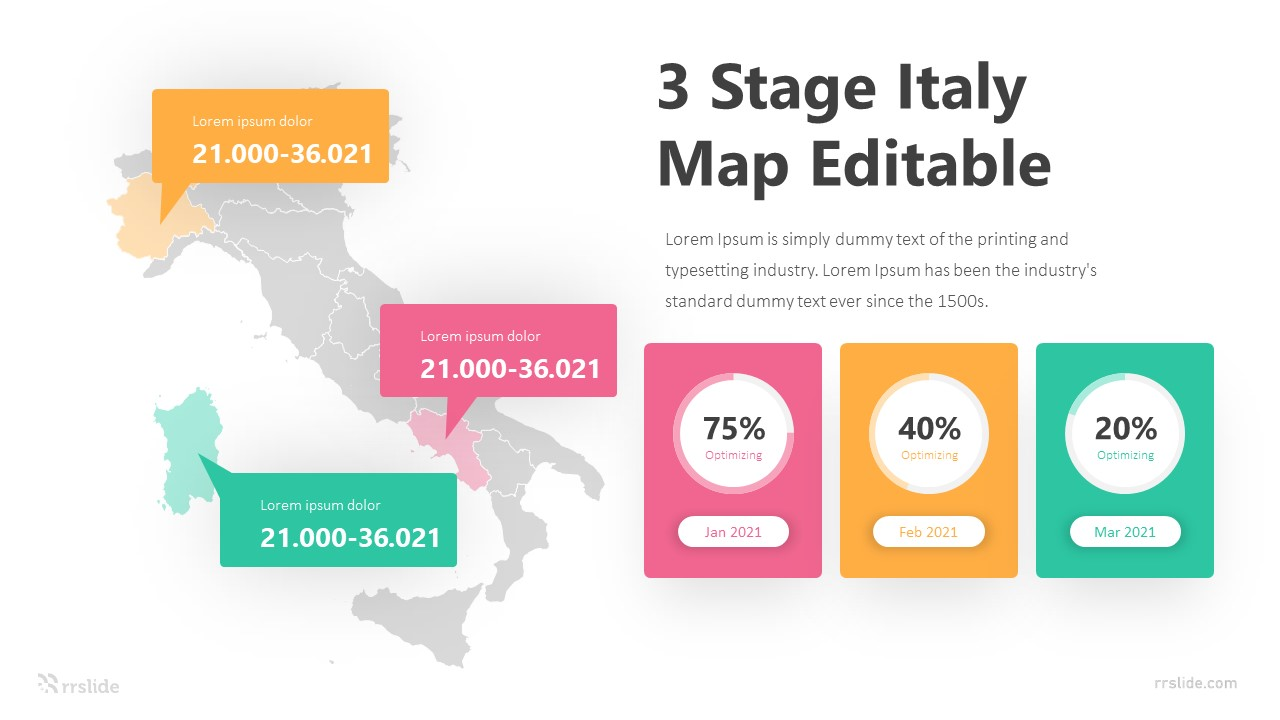 3 Stage Italy Map Editable Infographic Template