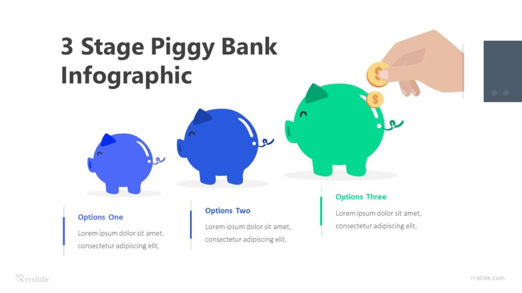 3 Stage Piggy Bank Infographic Template