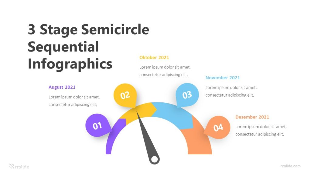 3 Stage Semicircle Sequential Infographics Template