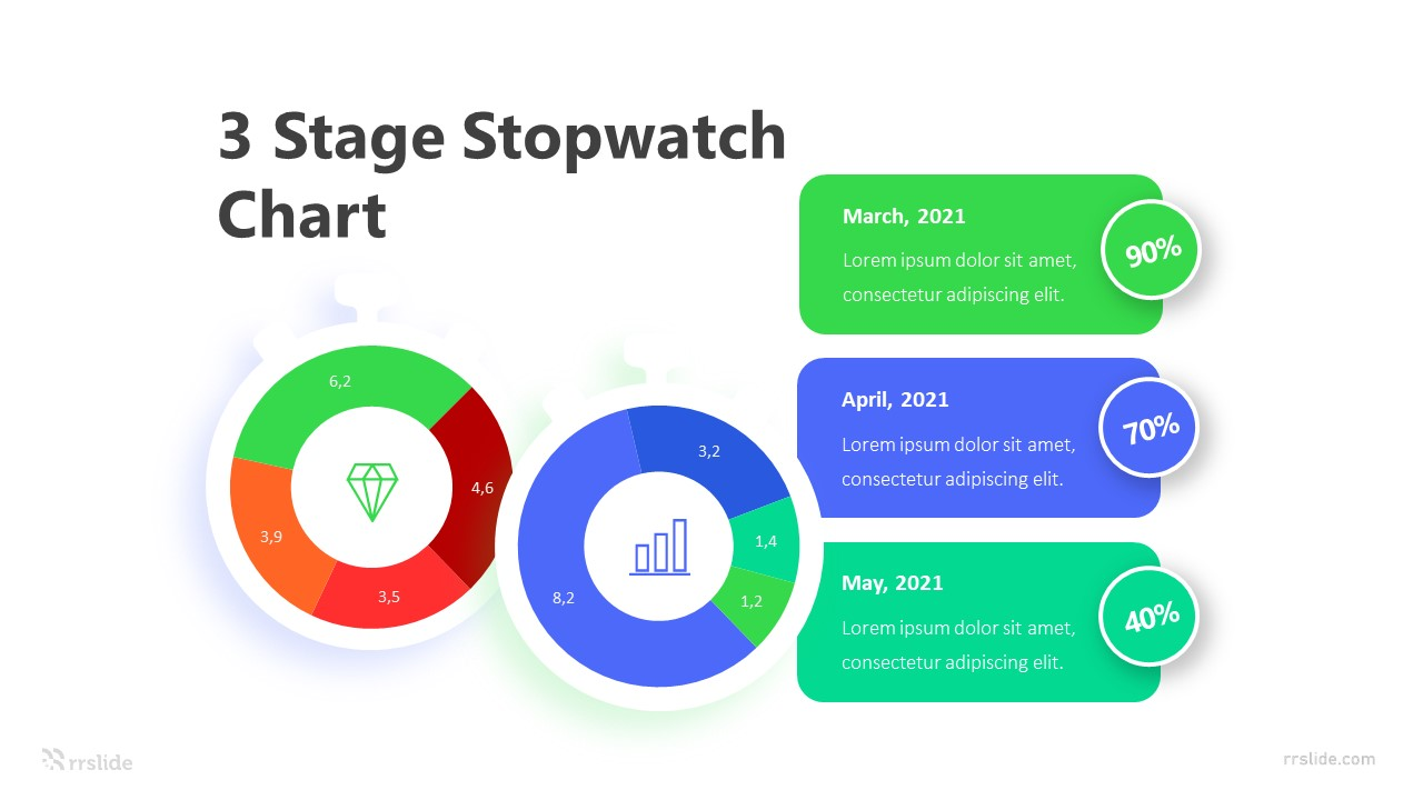 3 Stage Stopwatch Chart Infographic Template