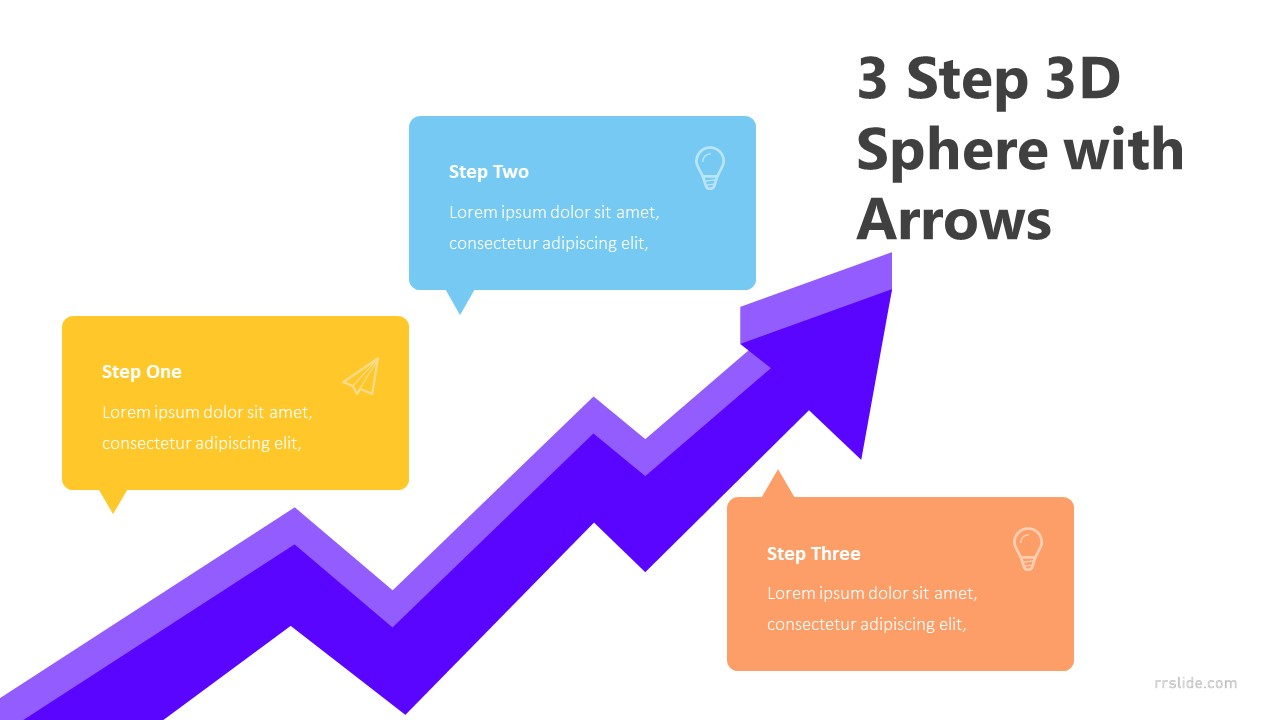 3 Step 3D Sphere with Arrows Infographic Template