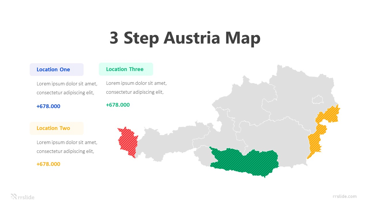3 Step Austria Map Infographic Template
