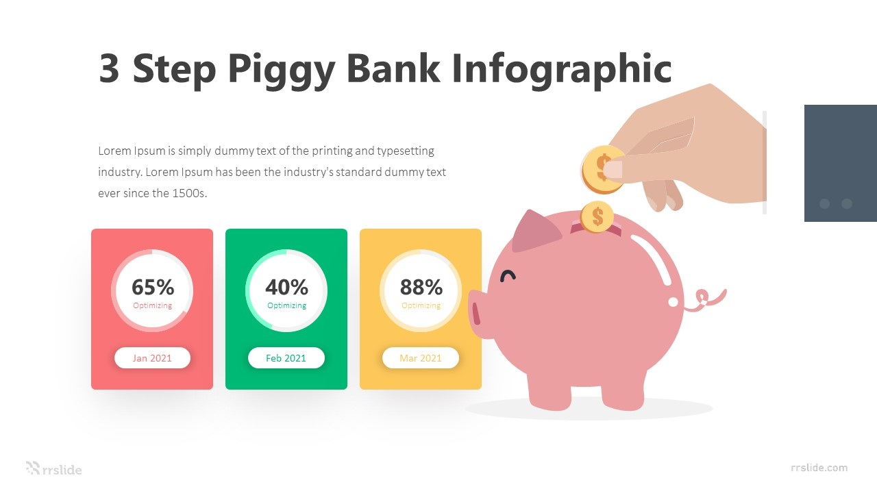 3 Step Piggy Bank Infographic Template