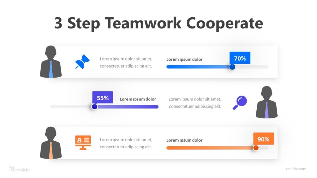 3 Step Teamwork Cooperate Infographic Template